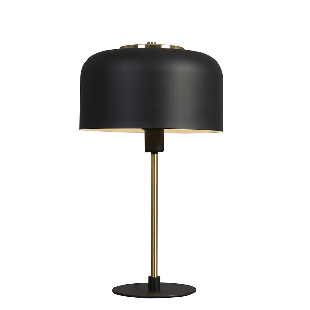 Geneva Matt Black and Brass Stem Table Lamp