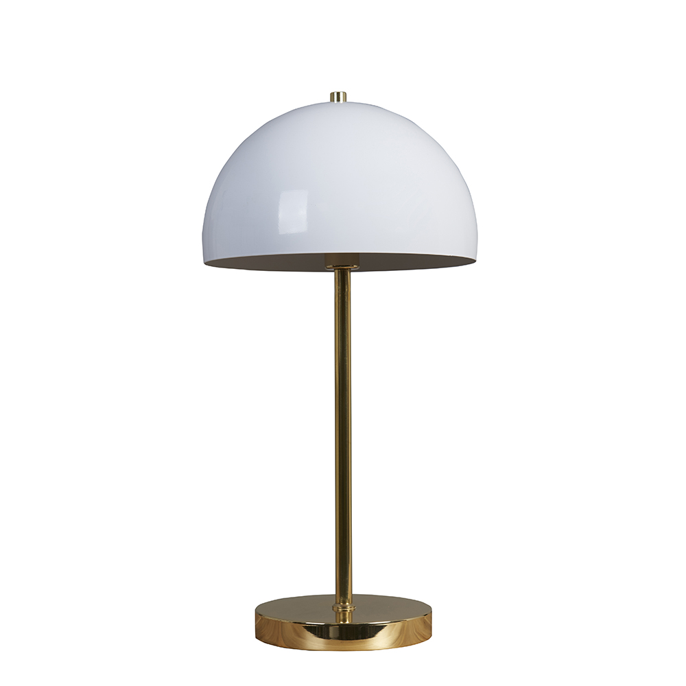 Dargai Gold Table Lamp with Domed White Shade