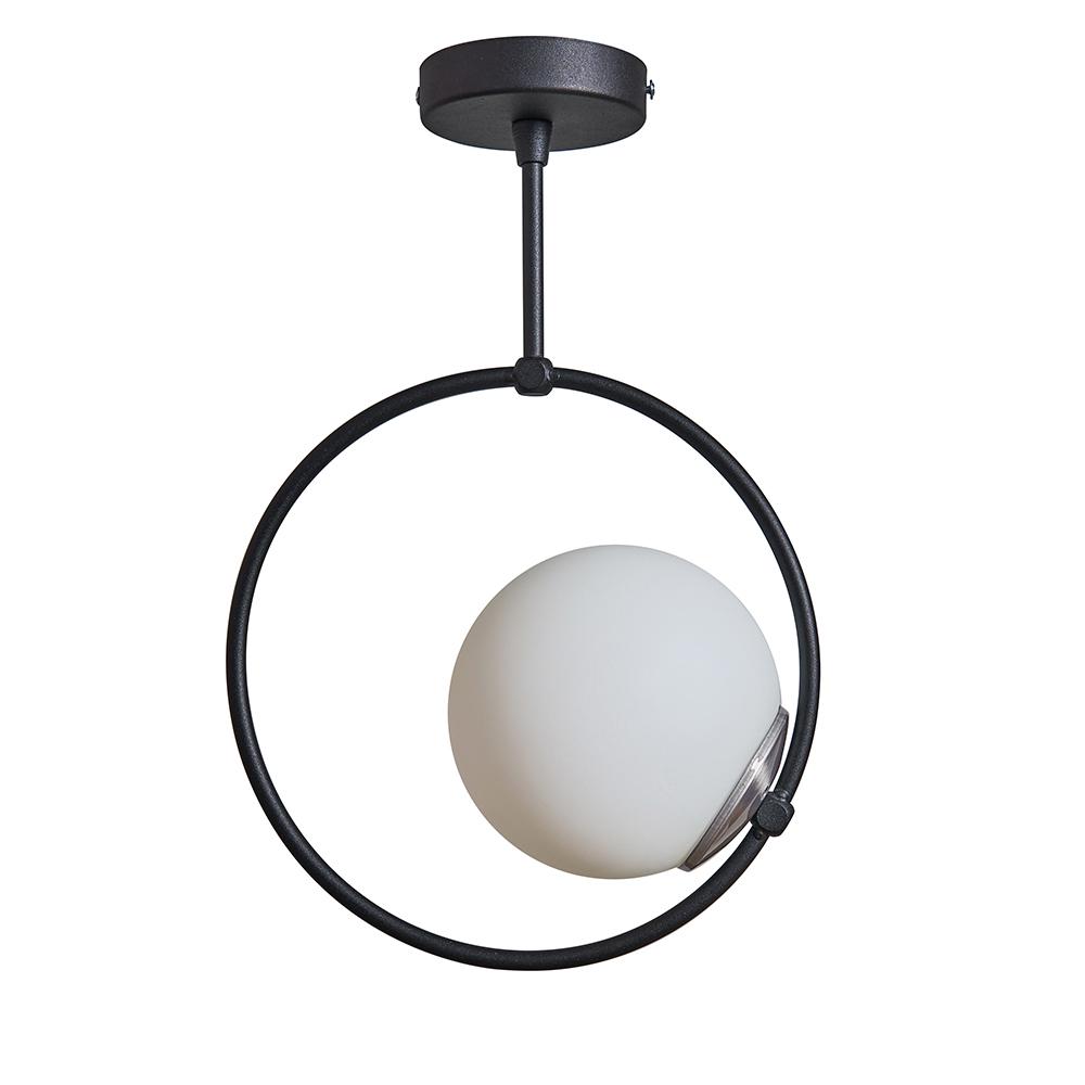 Cassini Matt Black Hoop Ceiling Light with White Globe Shade