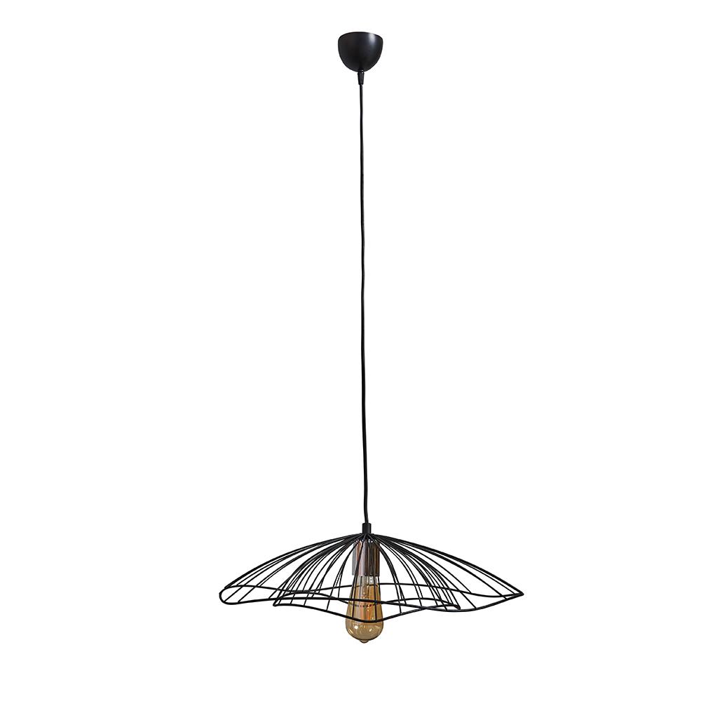Rhea Matt Black Pendant Ceiling Light with Black Wire Shade