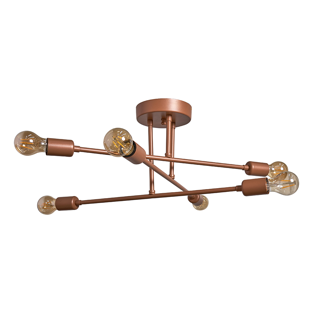 Gaspia 6 Way Copper Ceiling Light