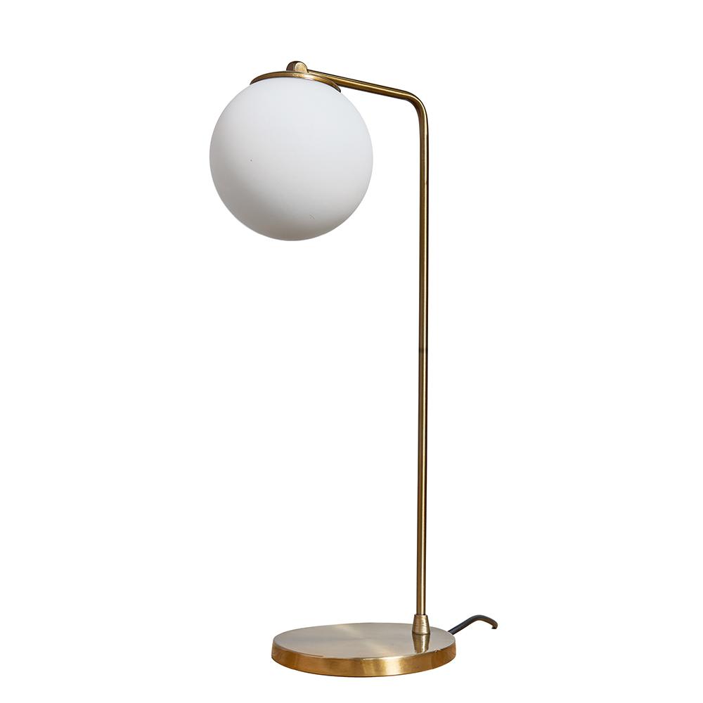Vesta Matt Gold Angled Table Lamp with White Globe Shade