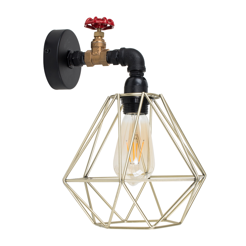 Mario Tap Wall Light with Gold Diablo Shade