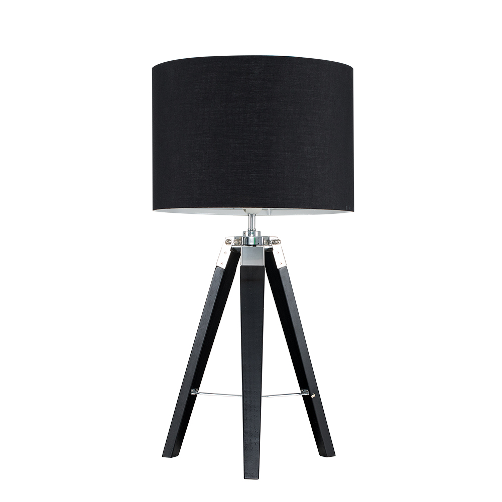 Clipper Black Wood and Chrome Table lamp with Black Shade