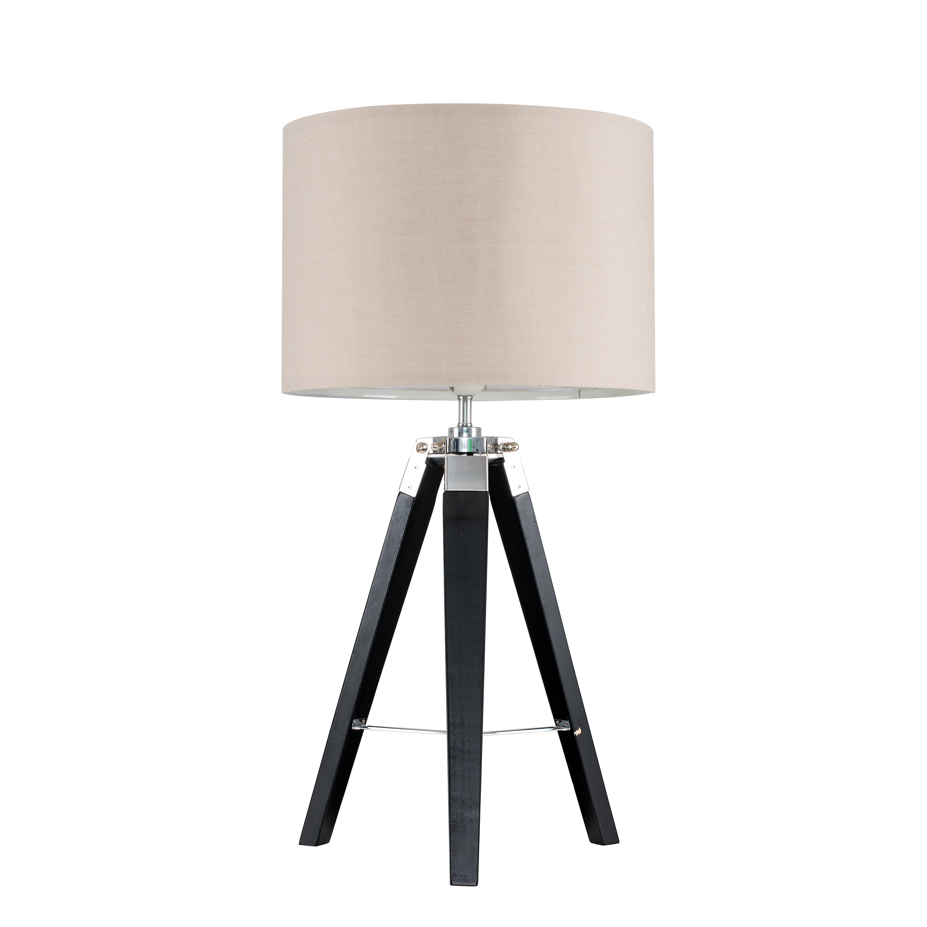 Clipper Black Wood and Chrome Table lamp with Beige Shade
