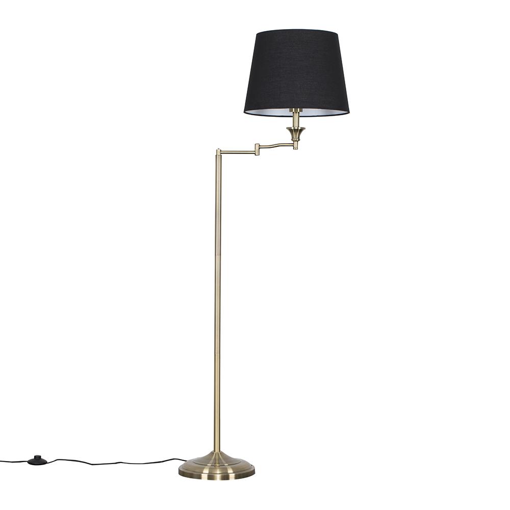 Sinatra Brass Floor Lamp with Black Aspen Shade