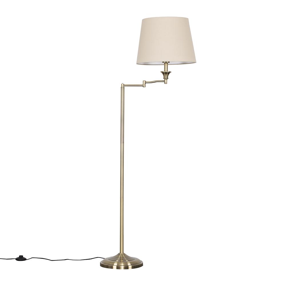 Sinatra Brass Floor Lamp with Beige Aspen Shade