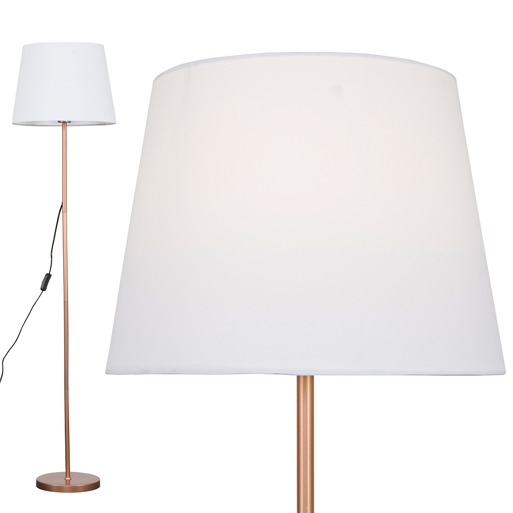 Charlie Copper Floor Lamp with White Aspen Shade
