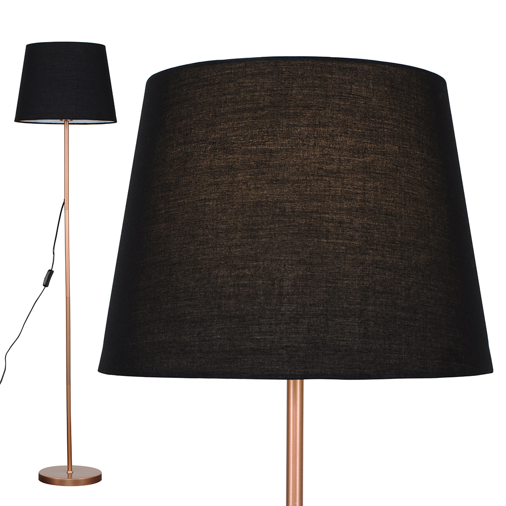 Charlie Copper Floor Lamp with Black Aspen Shade