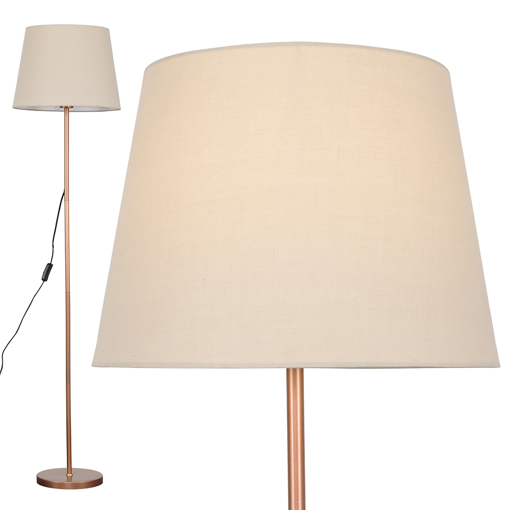 Charlie Copper Floor Lamp with Beige Aspen Shade