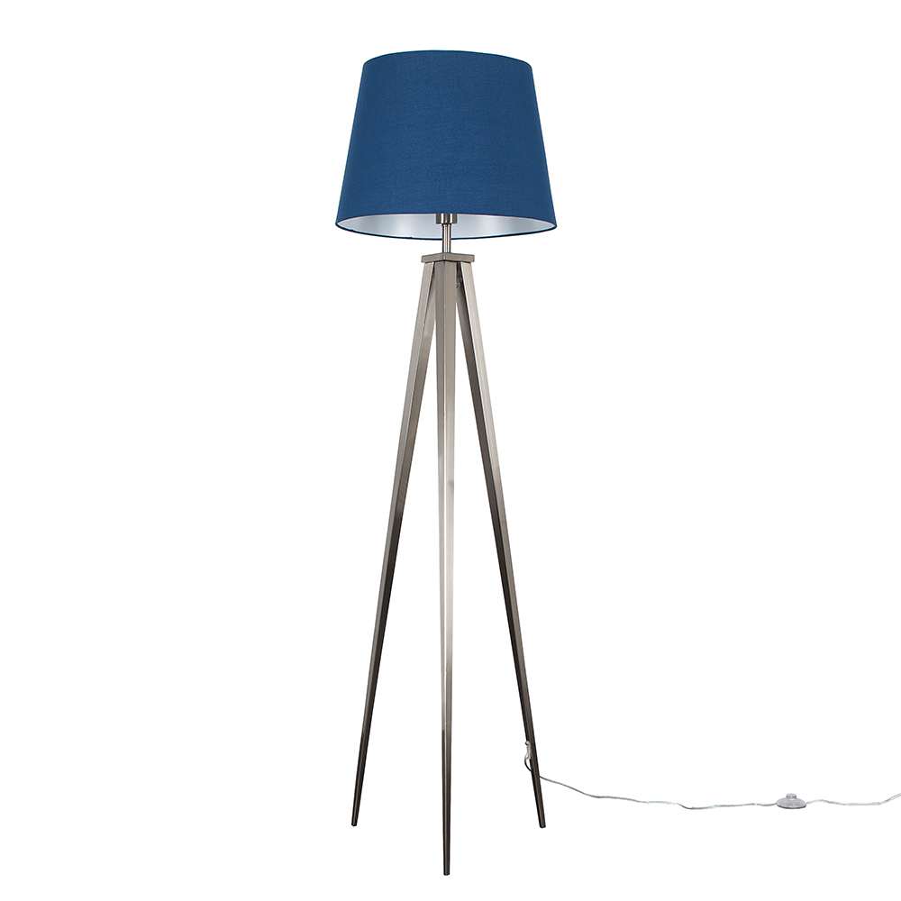 Nero Floor Lamp with XL Navy Blue Aspen Shade
