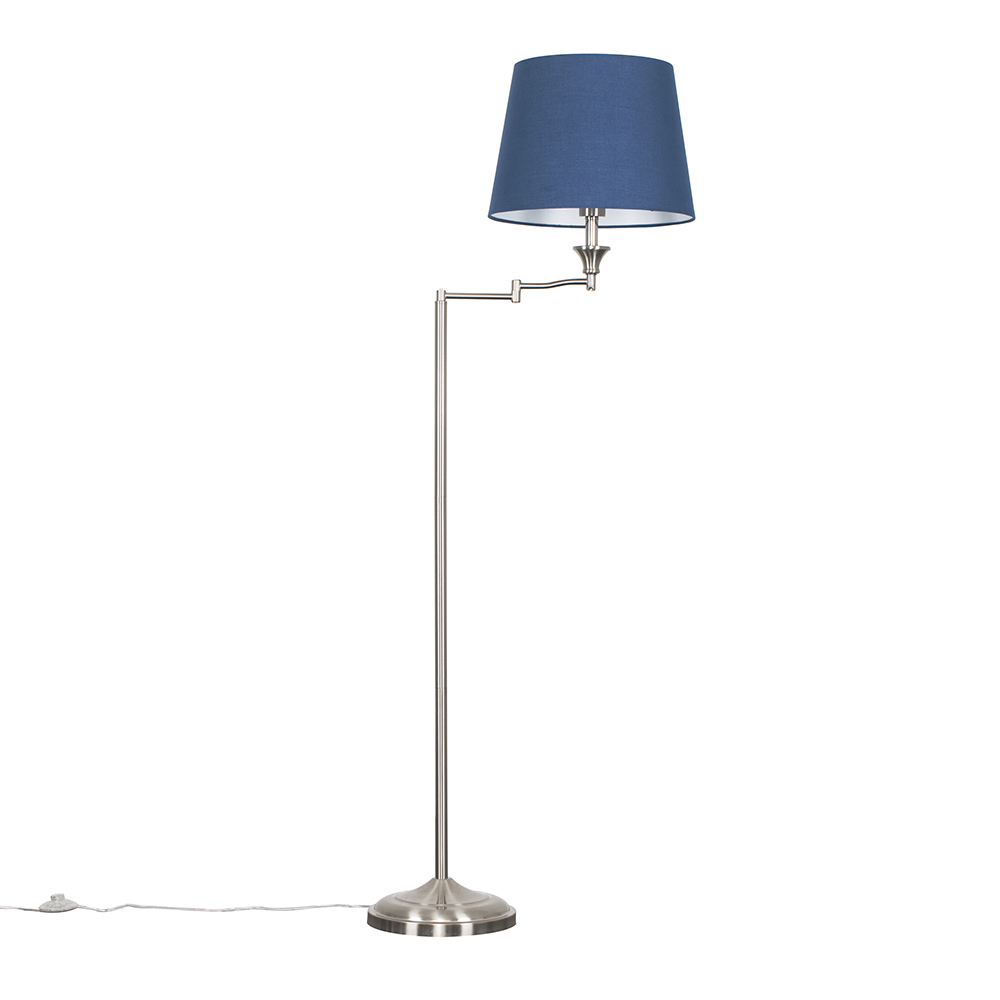 Sinatra Floor Lamp with Navy Blue Aspen Shade