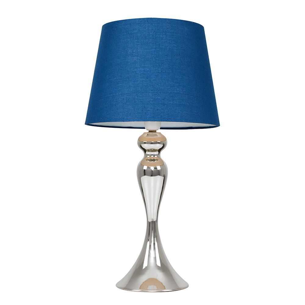 Faulkner Chrome Touch Table Lamp with Navy Blue Aspen Shade