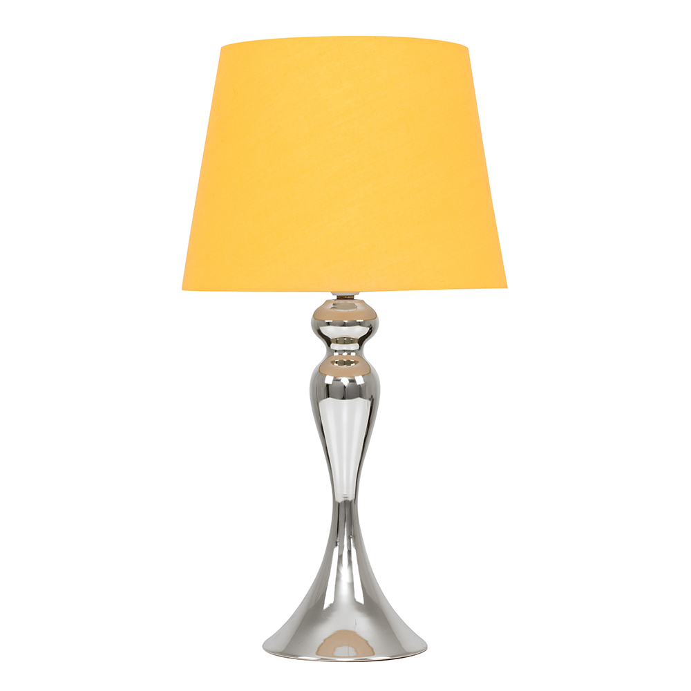 Faulkner Chrome Touch Table Lamp with Mustard Aspen Shade