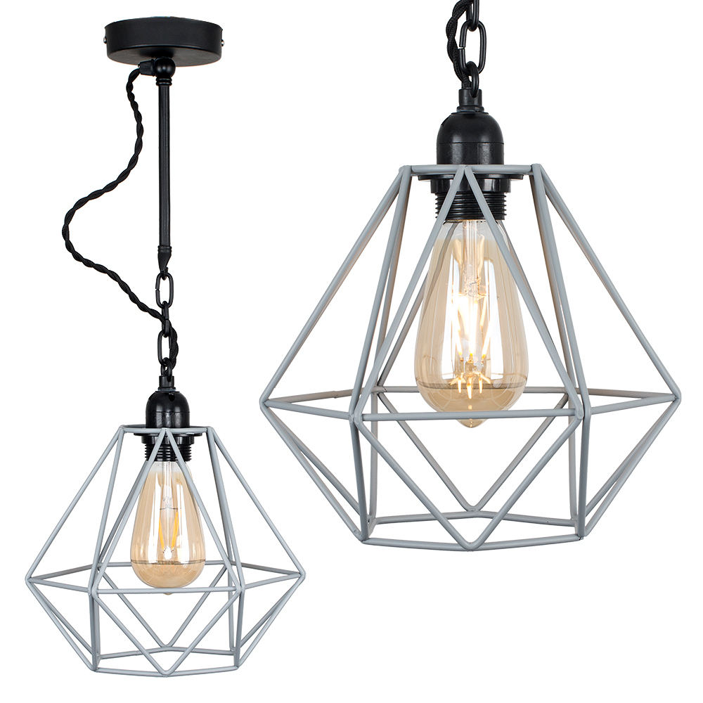 Huber Steampunk Ceiling Light with Grey Diablo Shade
