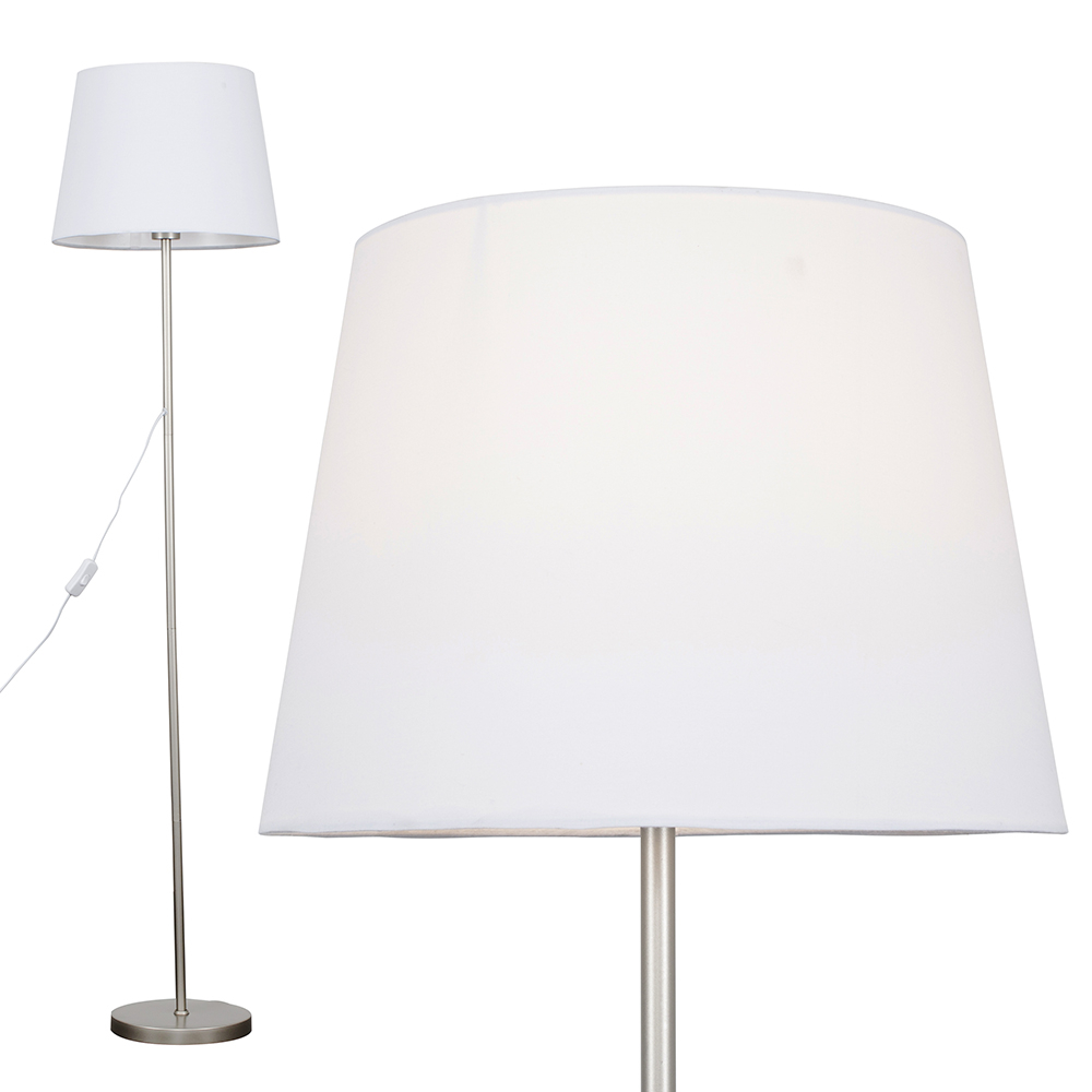 Charlie Brushed Chrome Floor Lamp with White Aspen Shade