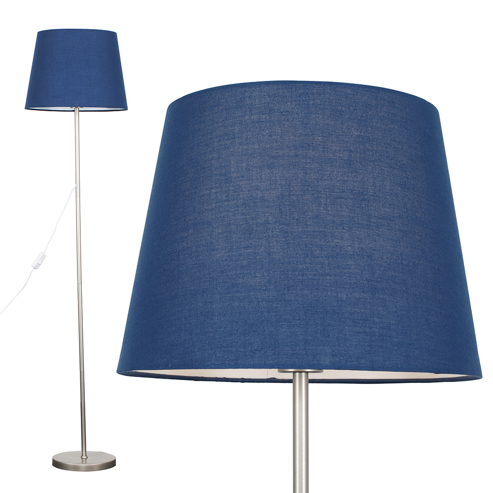 Charlie Brushed Chrome Floor Lamp with Navy Blue Aspen Shade