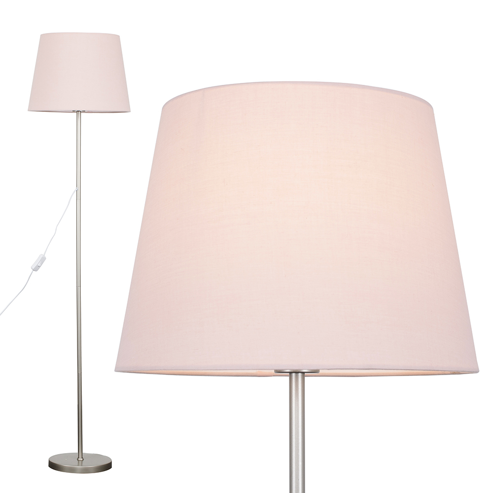 Charlie Brushed Chrome Floor Lamp with Dusty Pink Aspen Shade