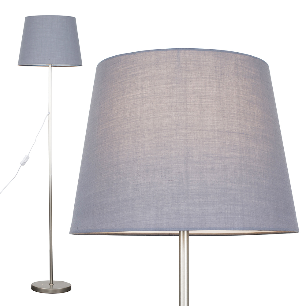 Charlie Brushed Chrome Floor Lamp with Grey Aspen Shade