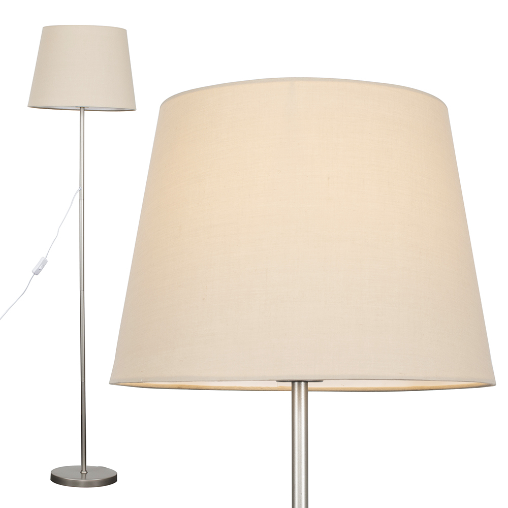 Charlie Brushed Chrome Floor Lamp with Beige Aspen Shade
