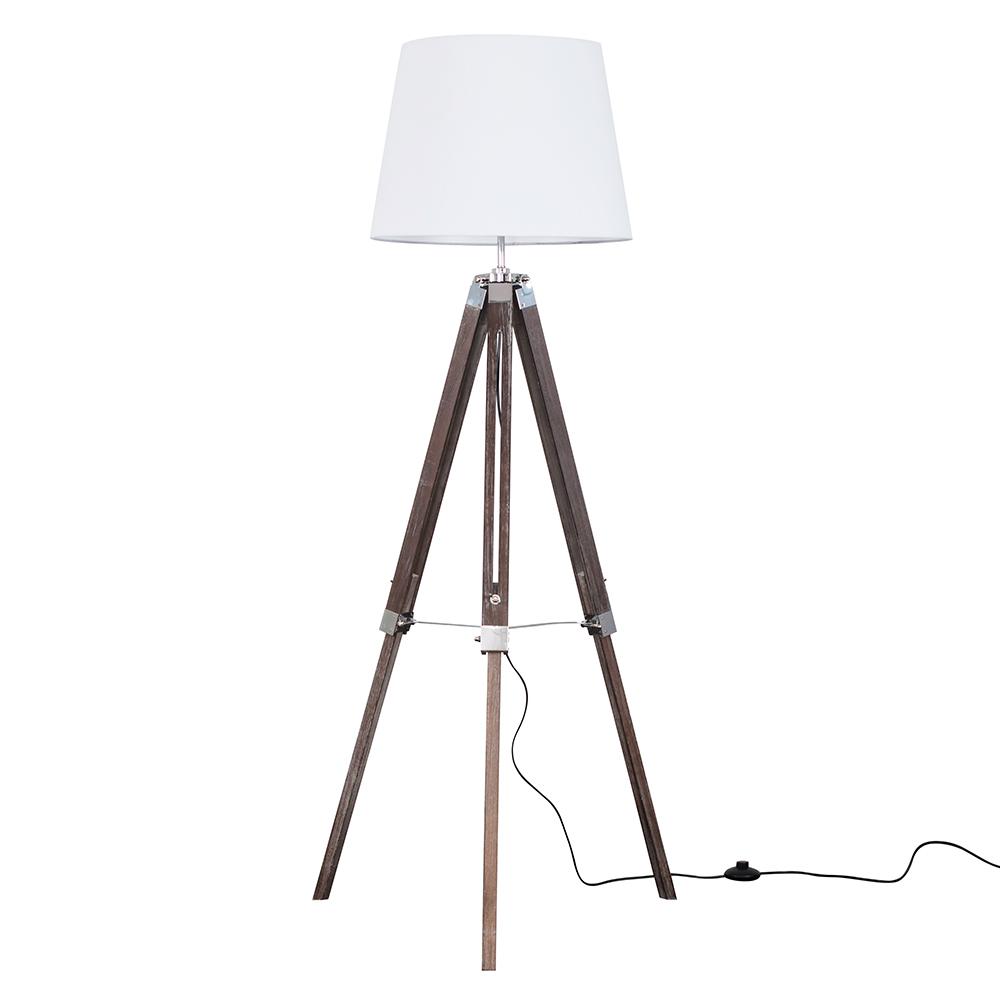 Clipper Light Wood Tripod Floor Lamp with White Aspen Shade