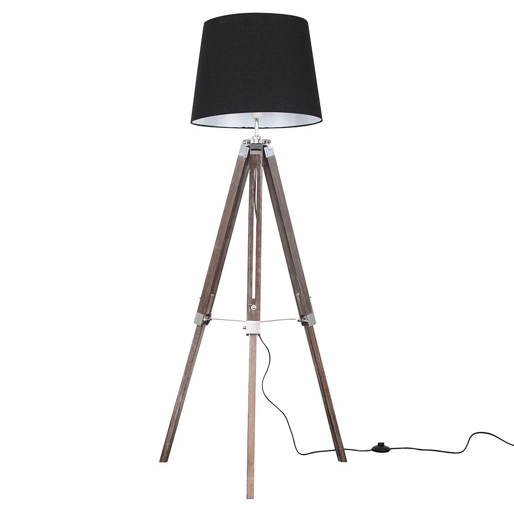 Clipper Light Wood Tripod Floor Lamp with Black Aspen Shade