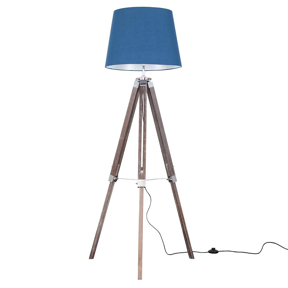 Clipper Light Wood Tripod Floor Lamp with Navy Blue Aspen Shade