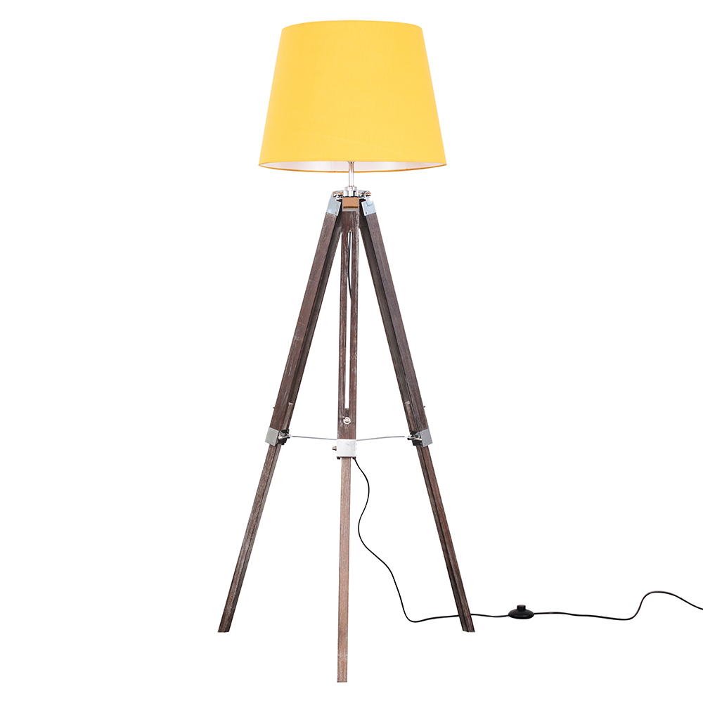 Clipper Light Wood Tripod Floor Lamp with Mustard Aspen Shade