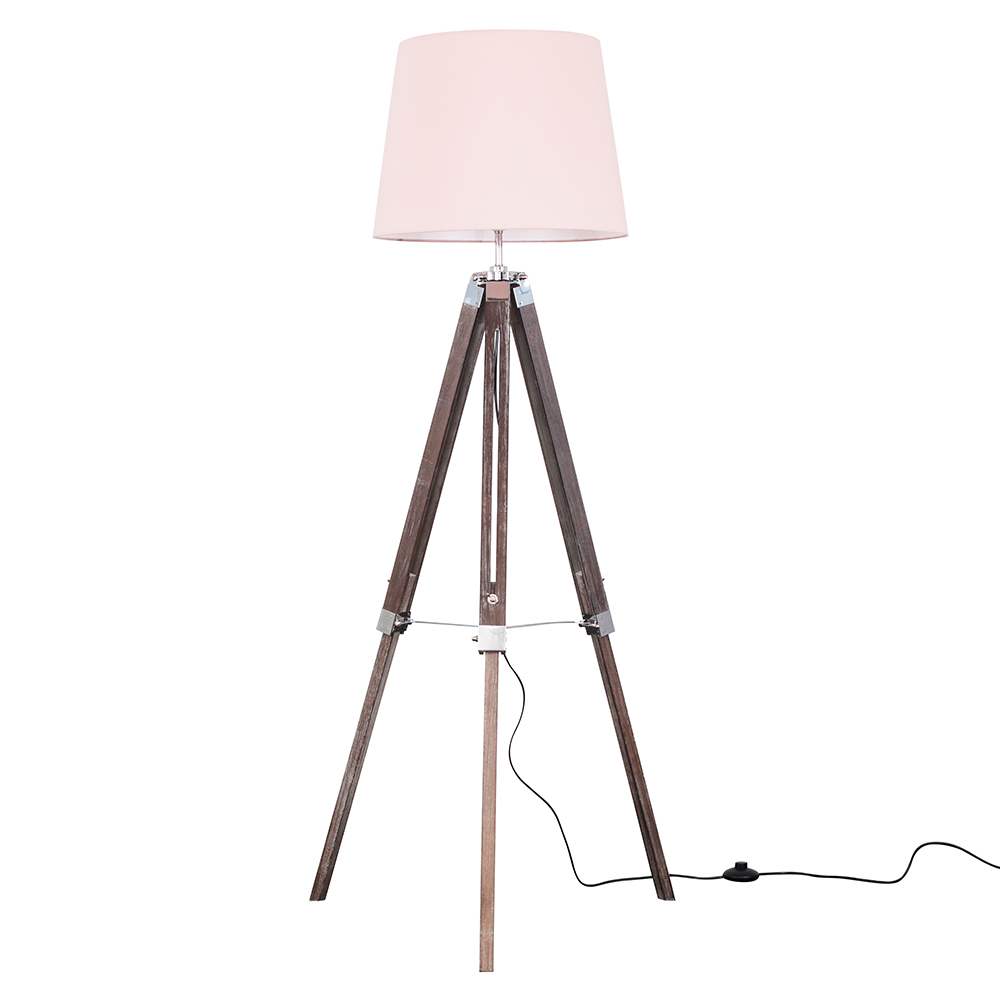Clipper Light Wood Tripod Floor Lamp with Dusty Pink Aspen Shade
