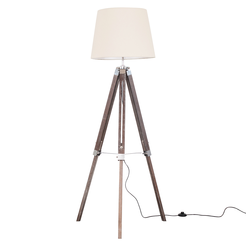 Clipper Light Wood Tripod Floor Lamp with Beige Aspen Shade