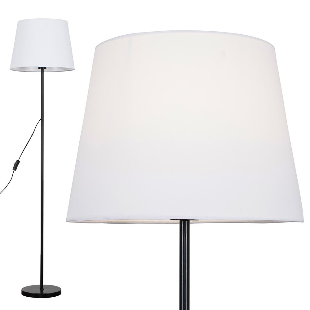 Charlie Black Floor Lamp with White Aspen Shade