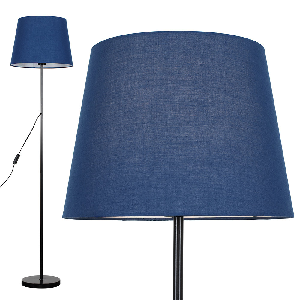 Charlie Black Floor Lamp with Navy Blue Aspen Shade