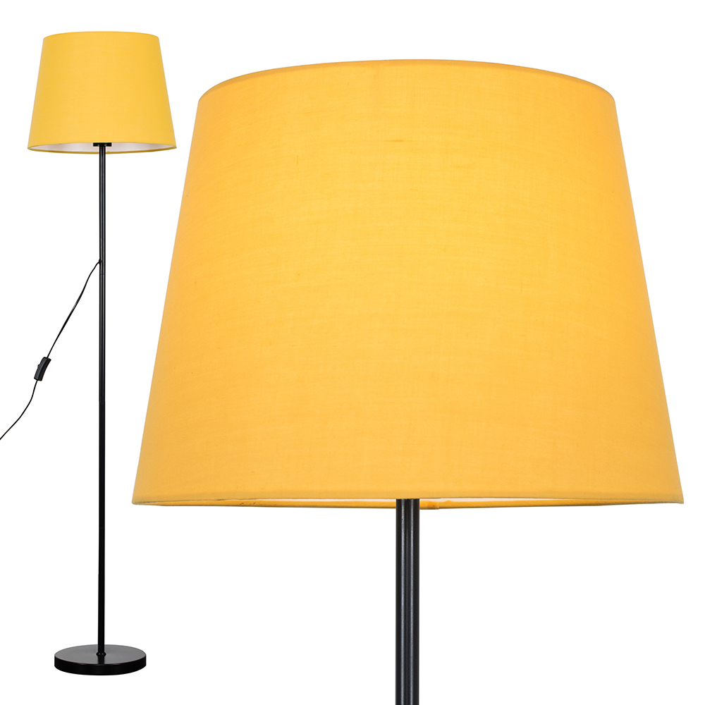Charlie Black Floor Lamp with Mustard Aspen Shade