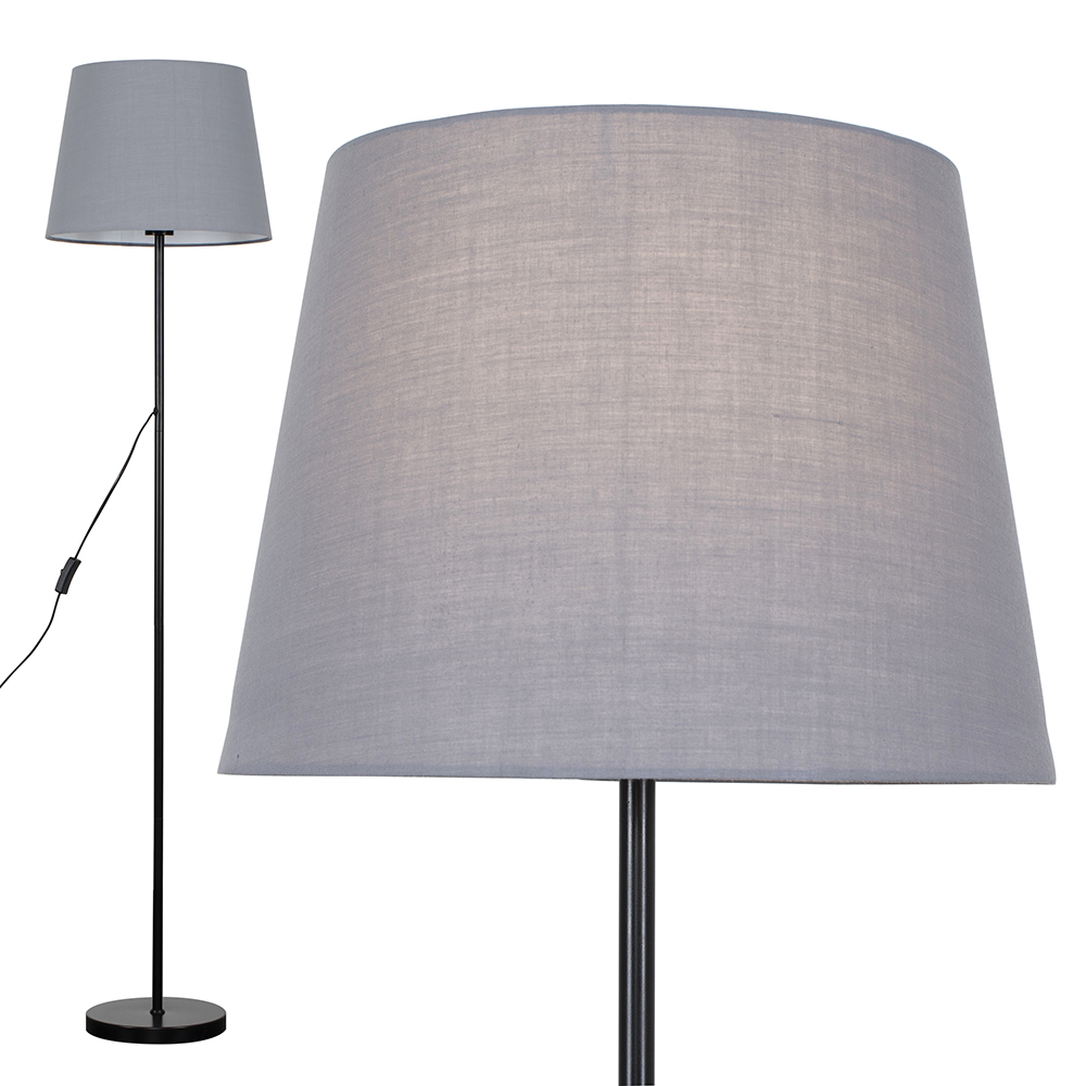 Charlie Black Floor Lamp with Grey Aspen Shade
