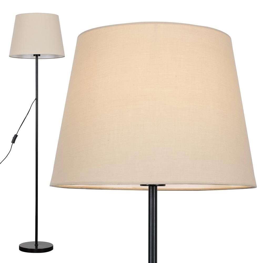 Charlie Black Floor Lamp with Beige Aspen Shade