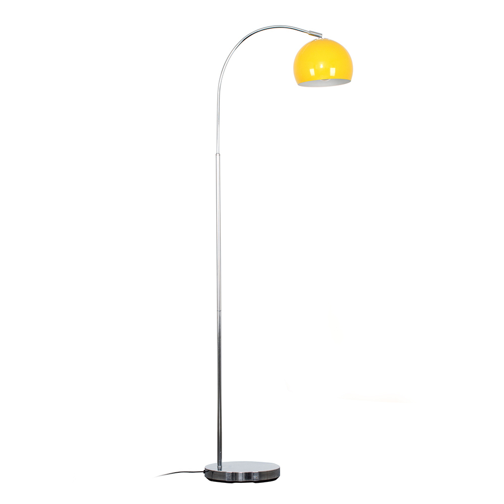 Curva Floor Lamp in Chrome with Yellow Shade