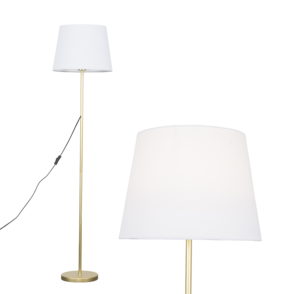 Charlie Gold Floor Lamp with White Aspen Shade