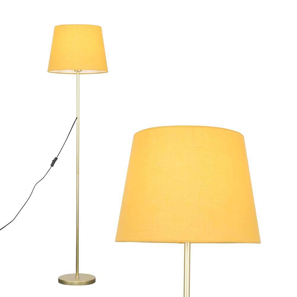 Charlie Gold Floor Lamp with Mustard Aspen Shade