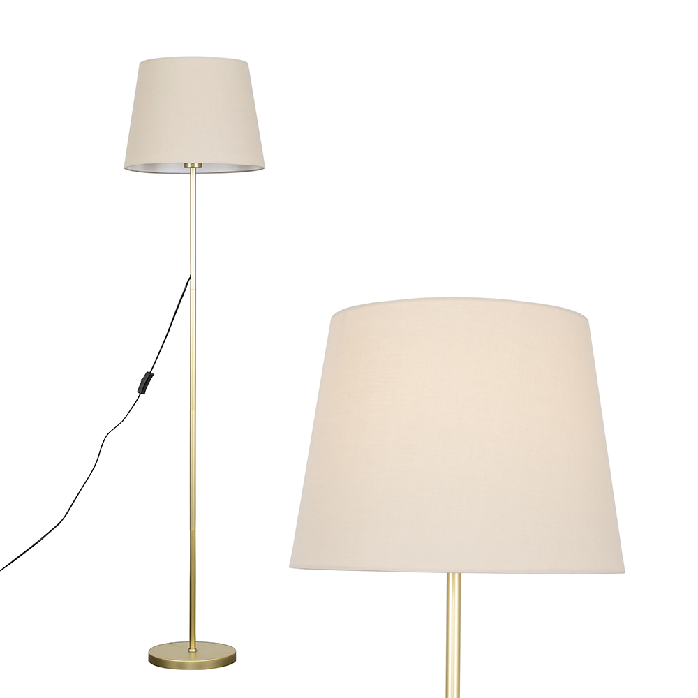 Charlie Gold Floor Lamp with Beige Aspen Shade
