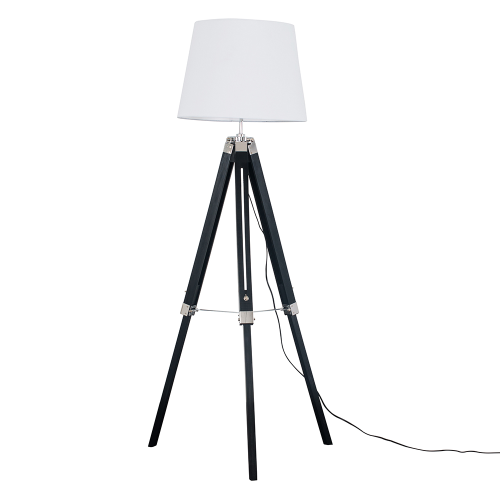 Clipper Black and Chrome Tripod Floor Lamp with White Aspen Shade