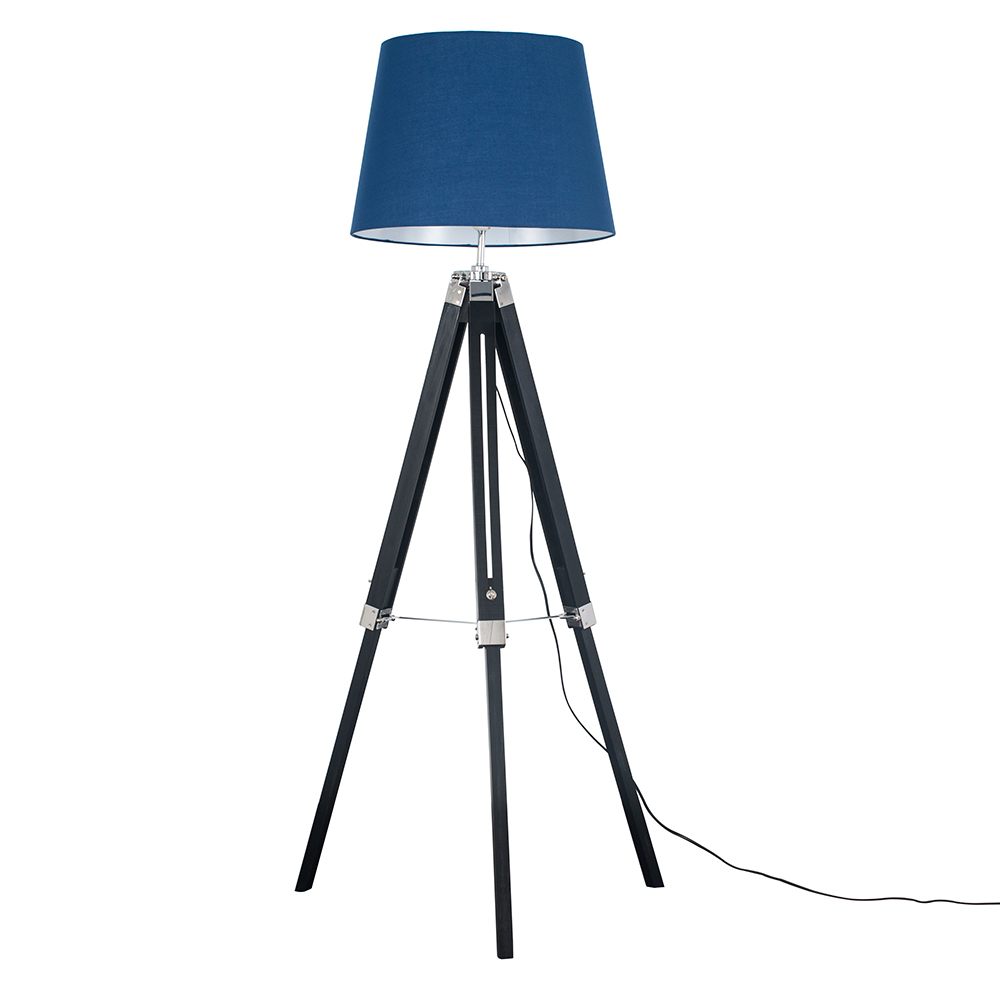Clipper Black and Chrome Tripod Floor Lamp with Navy Blue Aspen Shade