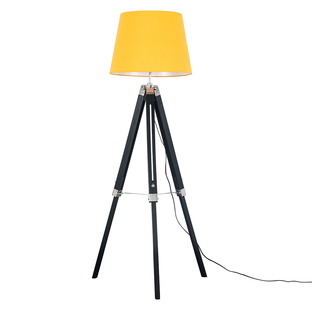 Clipper Black and Chrome Tripod Floor Lamp with Mustard Aspen Shade