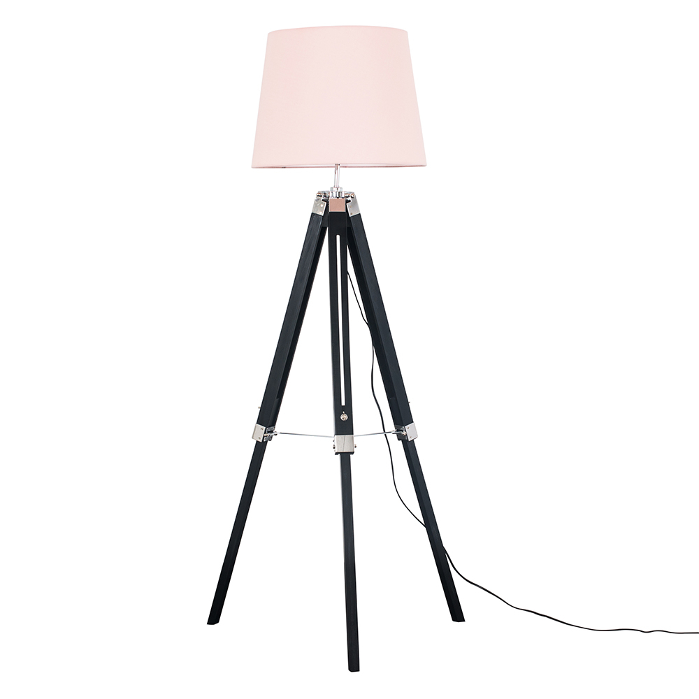 Clipper Black and Chrome Tripod Floor Lamp with Dusty Pink Aspen Shade