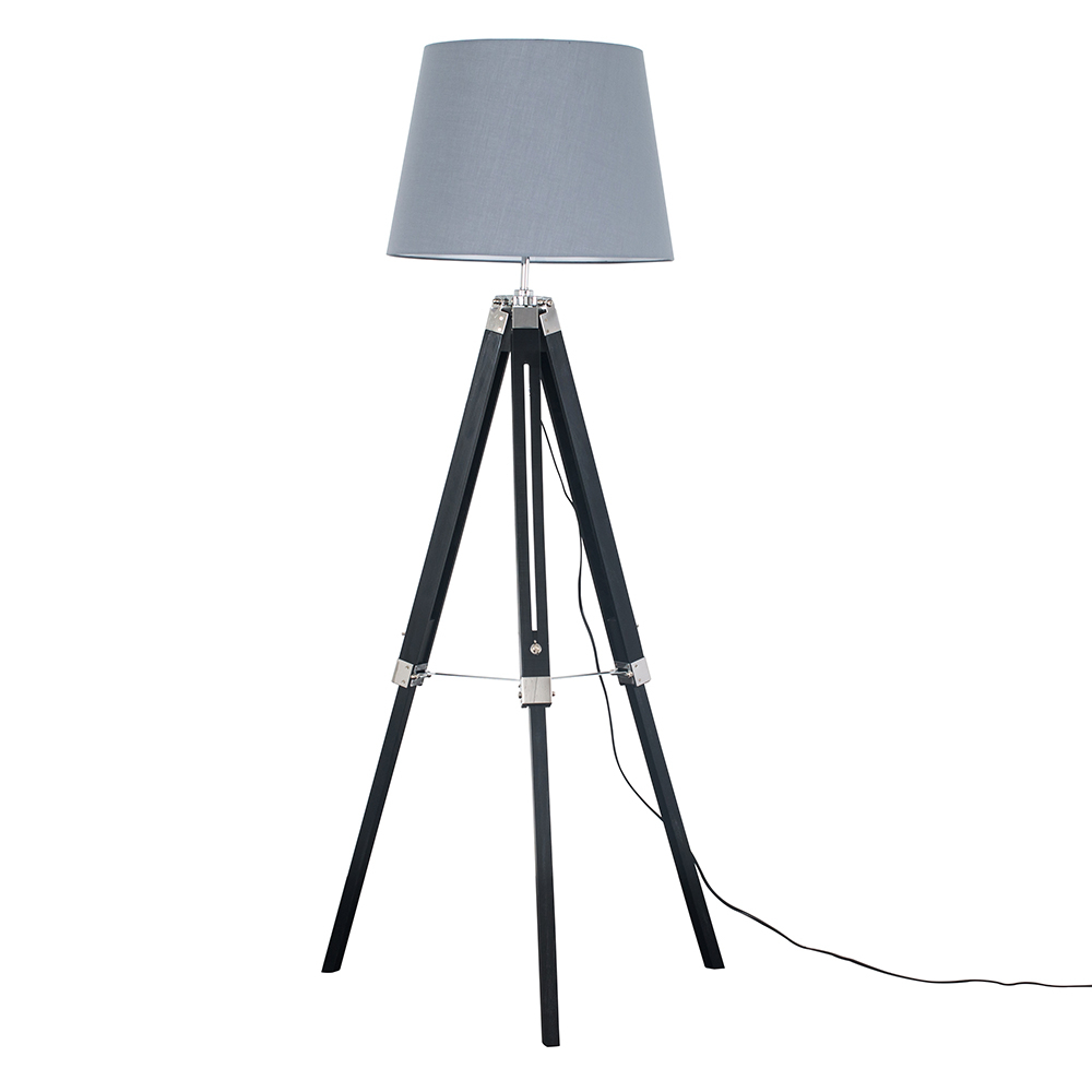 Clipper Black and Chrome Tripod Floor Lamp with Grey Aspen Shade