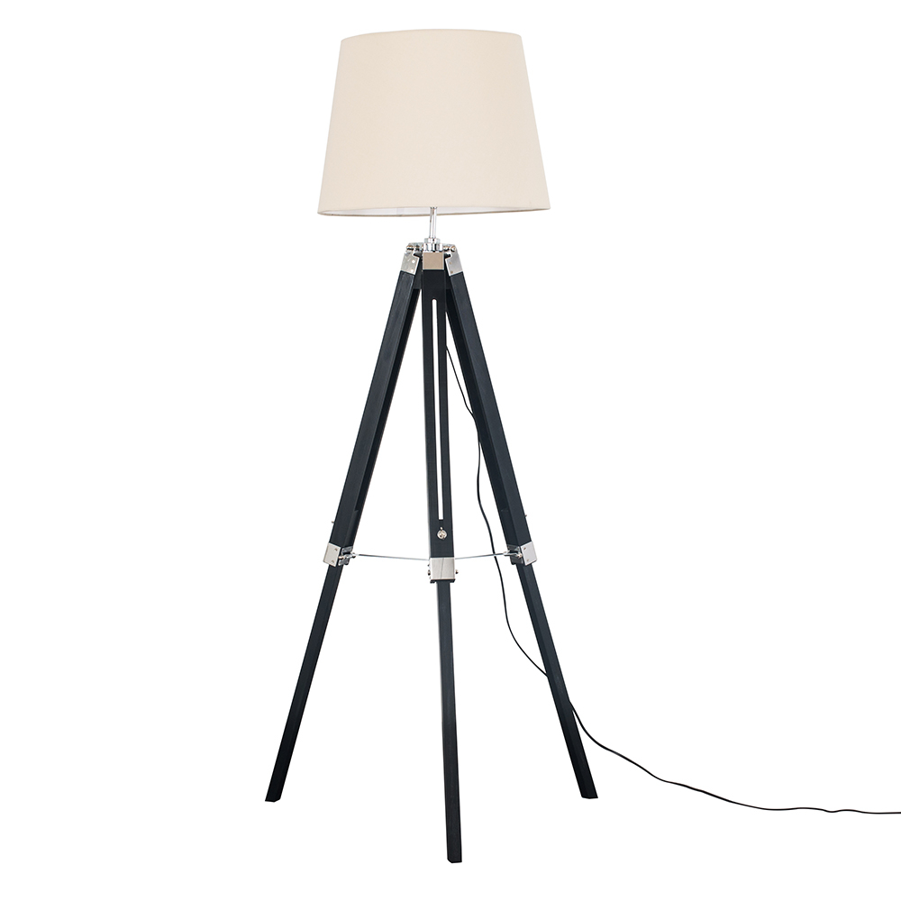 Clipper Black and Chrome Tripod Floor Lamp with Beige Aspen Shade