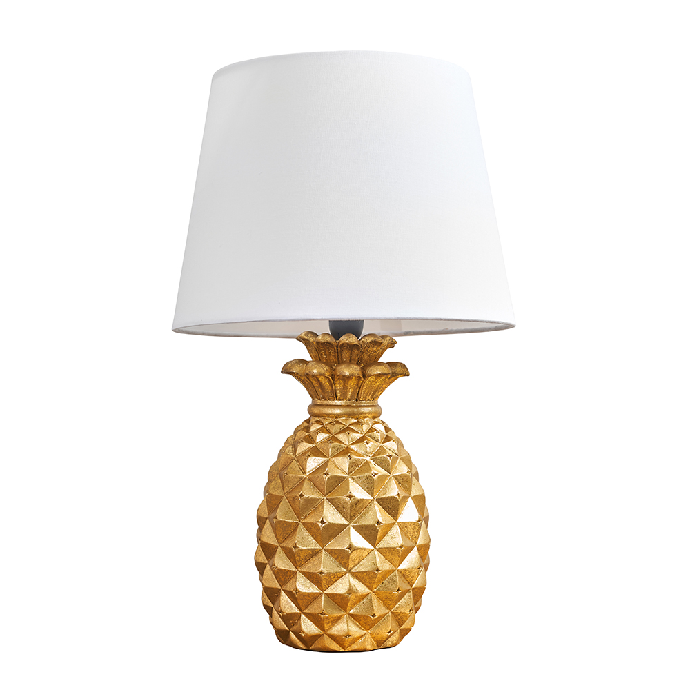 Pineapple Gold Table Lamp with White Aspen Shade