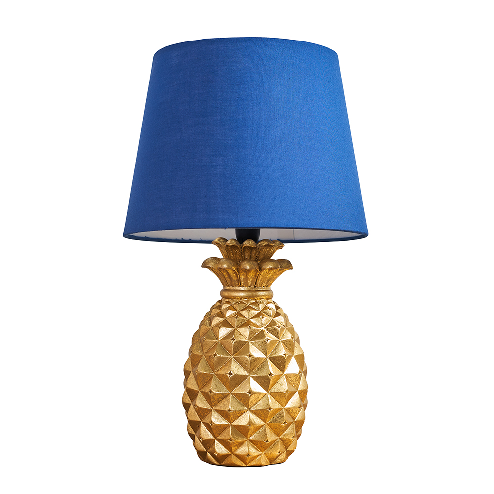 Pineapple Gold Table Lamp with Navy Blue Aspen Shade