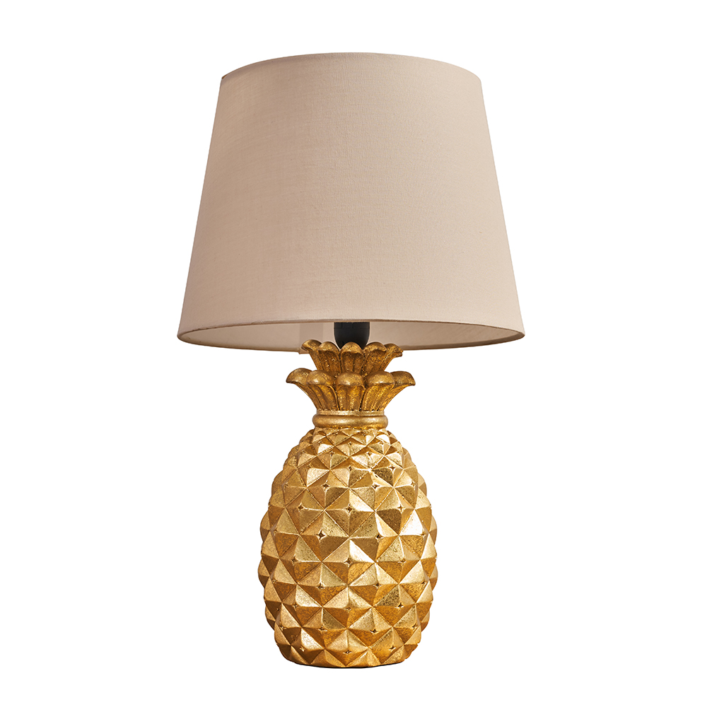 Pineapple Gold Table Lamp with Beige Aspen Shade