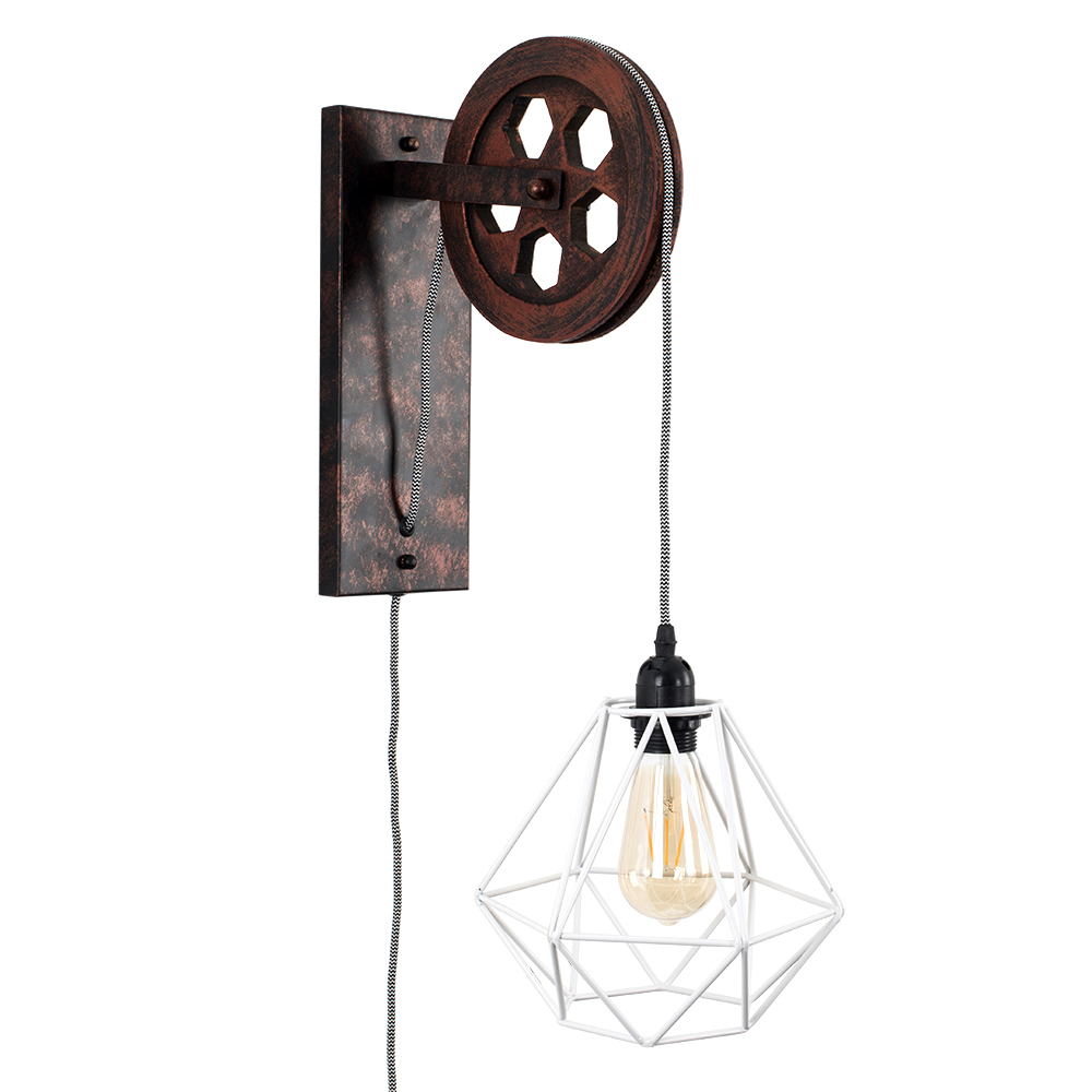 Anderton Pulley Wall Light with White Diablo Shade