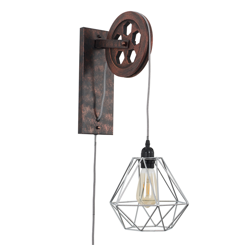 Anderton Pulley Wall Light with Chrome Diablo Shade